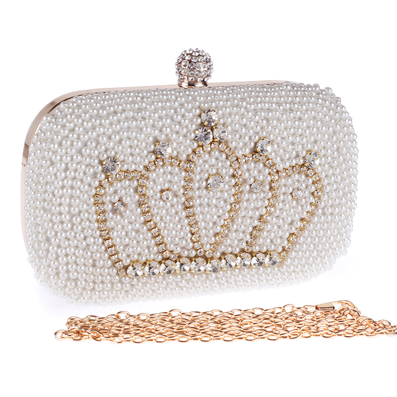 Women's Beaded Clutch Bag with Lots of Pearls, Vintage Day Clutch with Removable Chain, Messenger Bag цены онлайн