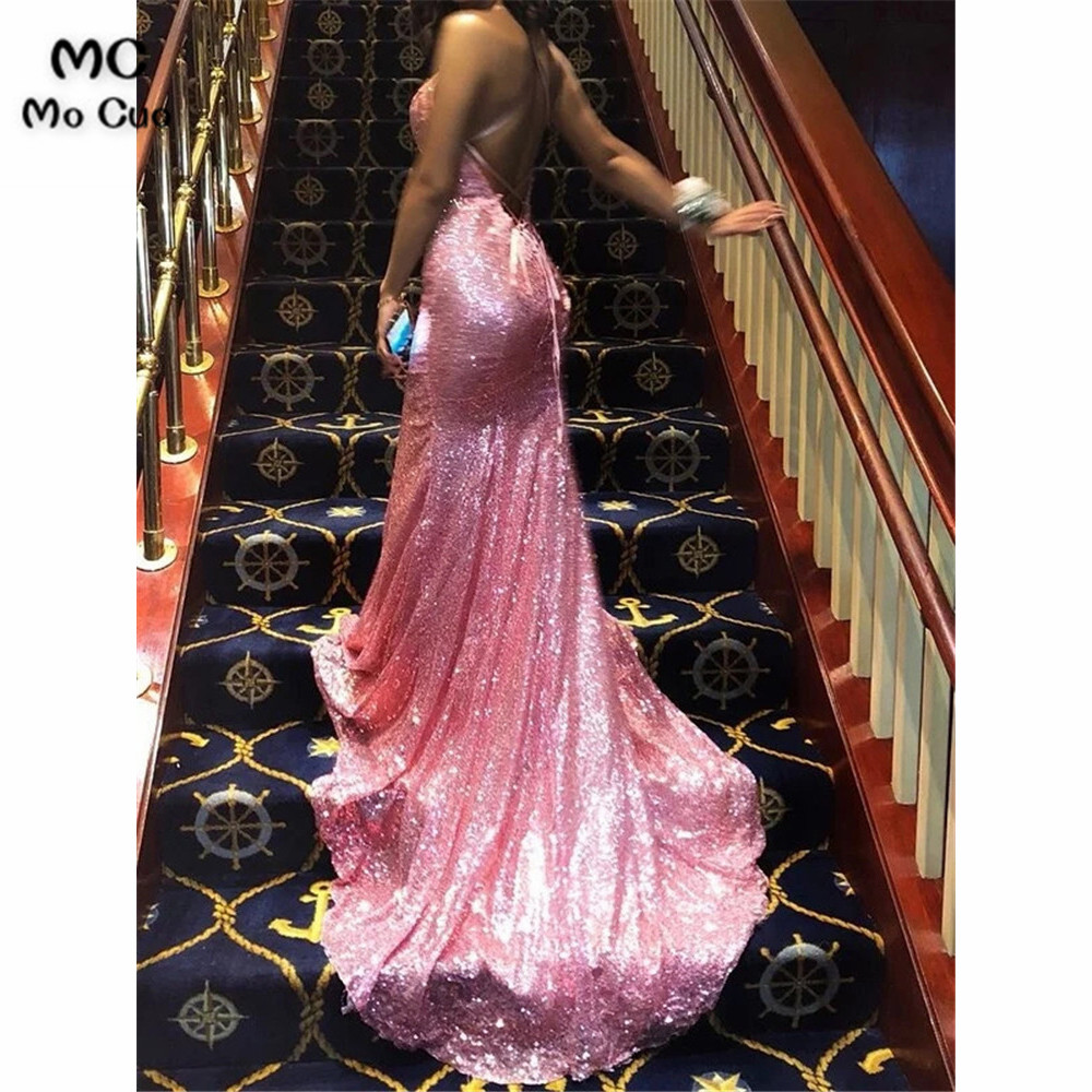 Mermaid Backless   Prom     dresses   with Sequined long graduation   dresses   Ruffles Evening   Prom     Dress   for Women Custom Made