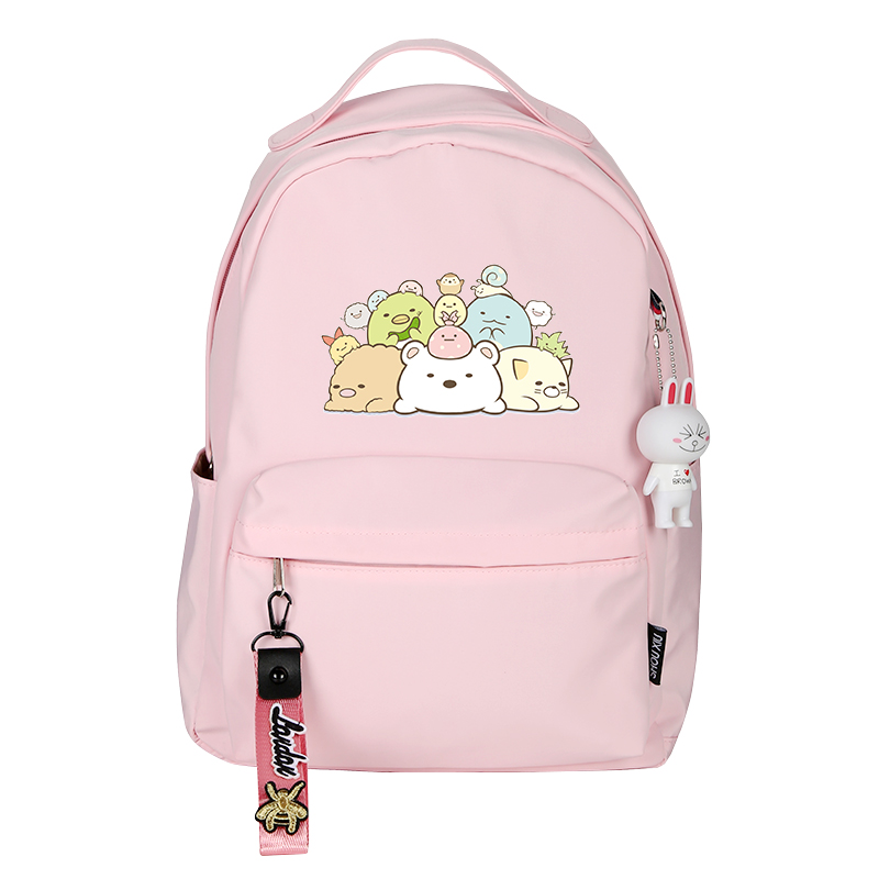 Sumikko Gurashi Printing Backpack Women Cute Backpack Kawaii School Back Pack Nylon Pink Backpack Cartoon Travel Backpack