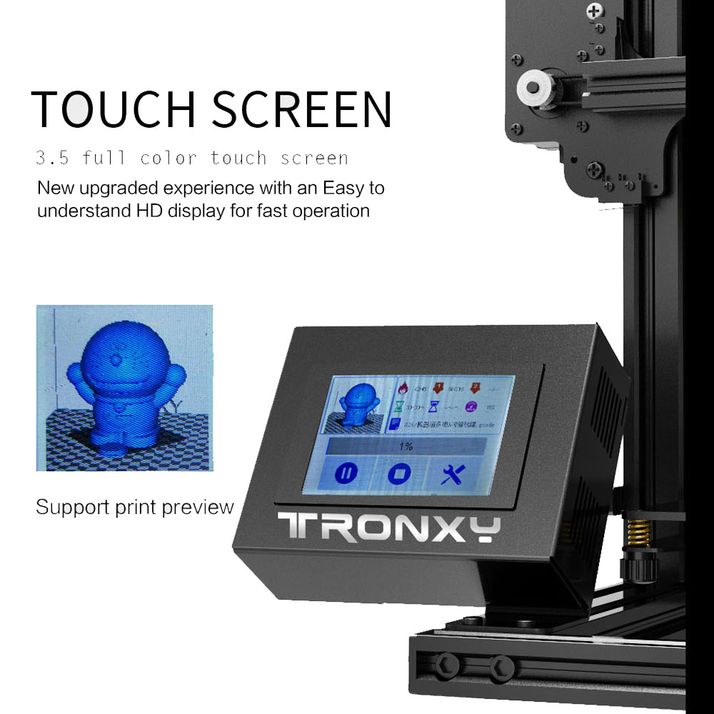 Image 3 - Tronxy XY 2 Fast Assembly Full metal 3D Printer 220*220*260mm High printing Magnetic Heat Paper 3.5 Inches Touch Screen-in 3D Printers from Computer & Office