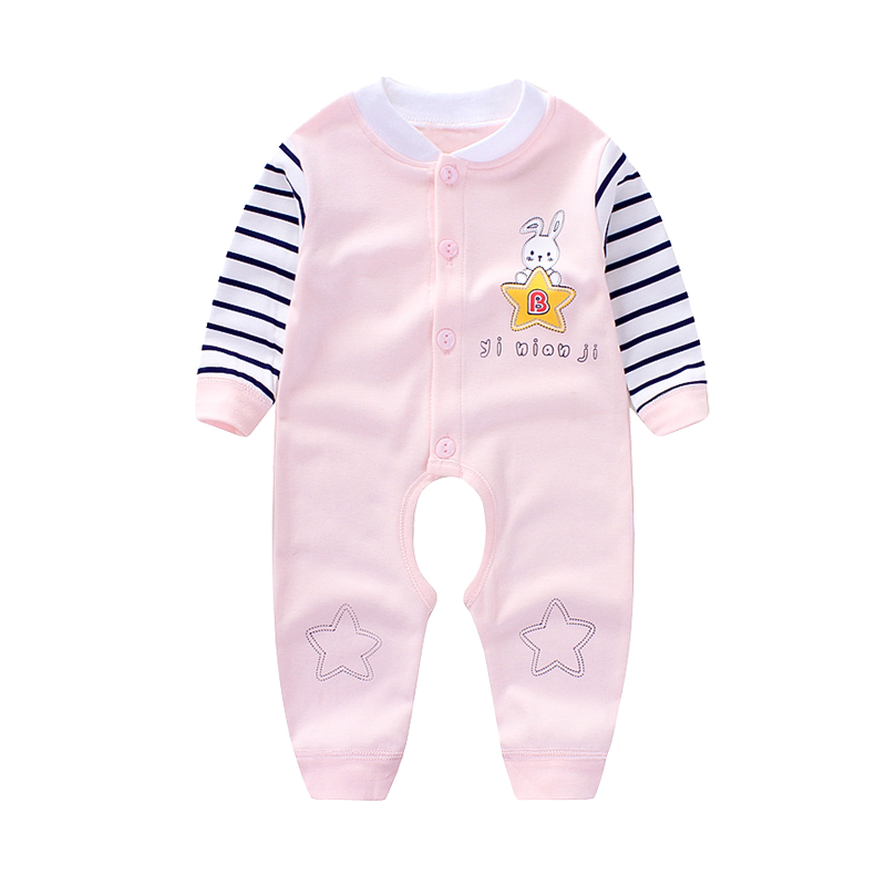 Baby jumpsuit pure cotton baby girl baby 0 open gear Hayi 6 long-sleeved crawling clothing 9 months baby clothes
