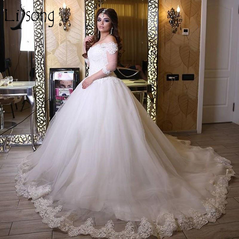 Plus Size Wedding Ball Gowns: Muslim Lace Wedding Dresses With Three Quarter Sleeves