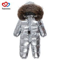 New Childen Duck Down Snowsuit Children Winter Jumpsuit Baby Snowsuit Newborn Overalls Sliver Romper Real Fur