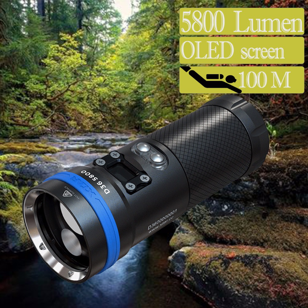 XTAR D36 Kit de lampe de poche de plongée écran OLED CREE XHP70.2 XHP35 HI max 5800 lumen sous l'eau 215 M torche de plongée avec chargeur de batterie