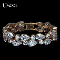 UMODE Brand Rose Gold Color Strand Tennis Bracelets For Women Fashion Jewelry With Multishaped AAA CZ Stones Bracelet AUB0024