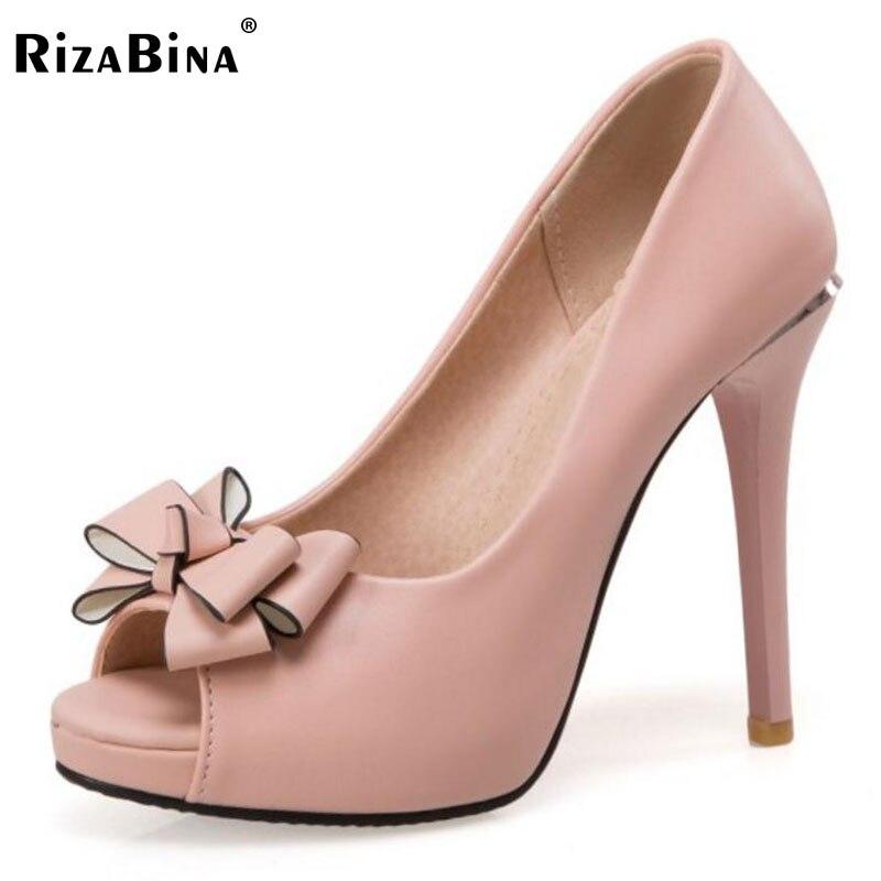 RizaBina Ladies High Heel Shoes Women Open Toe Bowknot Mixed Color Slip On Heels Pumps Women Daily Office Footwear Size 32-43 women high heels plus size 32 42 sexy office pointed toe wedges shoes slip on women pumps fashion mixed color ladies shoes