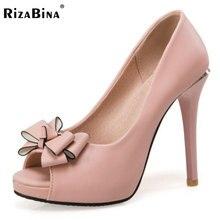 Rizabina женские туфли на высоком каблуке женские Босоножки с открытым носком с бантом смешанные Цвет слипоны ботинки на каблуках женщины ежедневно офисная обувь размеры 32–43
