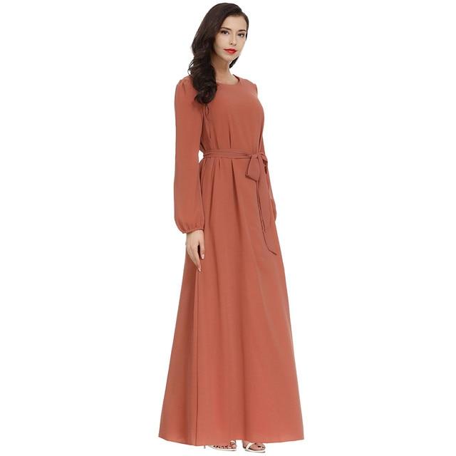 Women Fashion Elegant Muslim Plius Size Dresses Casual Solid O-Neck Ful Sleeve Chiffon Arab Islam Jilbab Dress z0415 2