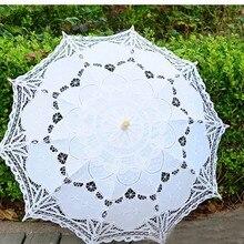 Бесплатная доставка Кружева ручного открывания Свадебный зонтик Аксессуары для зонтов для Свадебные душ зонтик