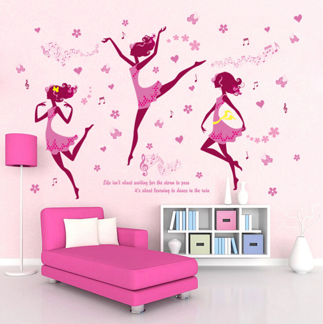 dance girls large wall stickers home decor living room kids rooms ...