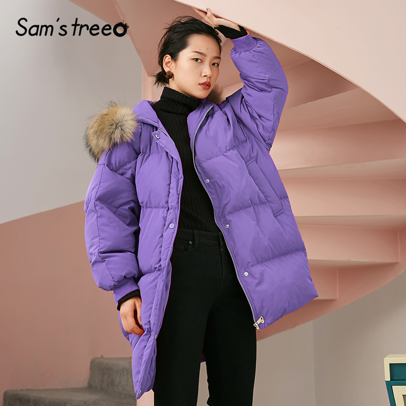 Samstree 90% White Duck   Down     Coats   Hooded Natural Fur Women Long Winter   Coat   Thick Female Outwear Parka 2 Color
