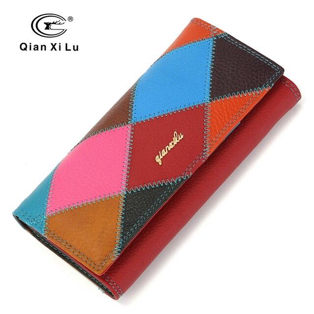 Genuine Leather Women Wallet Female Patchwork Zipper Long 3 Fold Coin Purse High Quality Bolsas feminina wallets for phone
