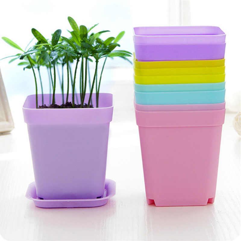 Jardinagem Mini-vasos De Flores de Plástico + Bandeja De Plástico Quadrado Vaso De Flor Bonsai Plantador Potes Berçário 7 Cor Fontes Do Jardim V4604