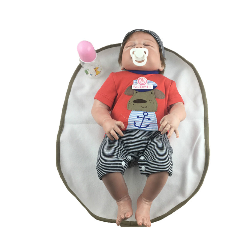 цена 55cm/22 Full Body Silicone Vinyl Handmade Sleeping Boy Reborn Doll Lifelike Newborn Baby Toys Gift Collection