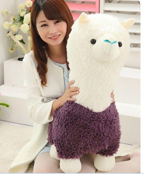 Grand 65 cm mignon violet et blanc alpaga doux poupée en peluche jouet oreiller jouet cadeau d'anniversaire w1810
