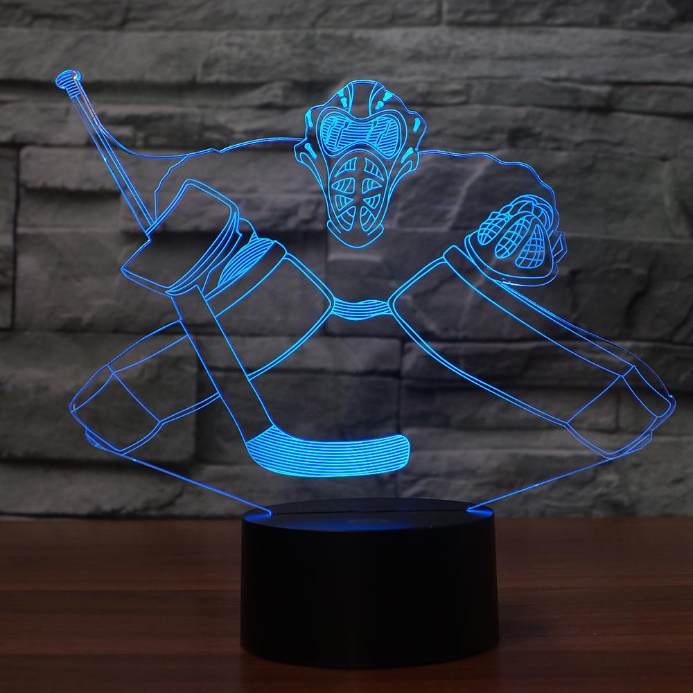 Novelty Ice Hockey LED Night Light 3D Colorful Visual Desk Lamp Home Decor Sports Fans Gifts Bedroom Boy Bedside Light Fixture