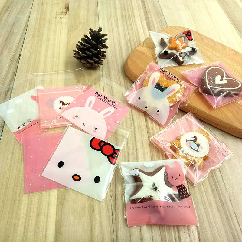 20 Uds. Bolsas de galletas de caramelo de 10x10cm con bolsa de regalo de plástico OPP adhesiva, embalaje de comida de fiesta en casa para bodas, dibujos animados de cumpleaños para niños