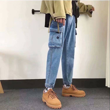 Primavera gran bolsillo Patchwork carga Mens pantalones Vintage Hip Hop azul  Denim Pantalones de moda Harajuku add2776deed