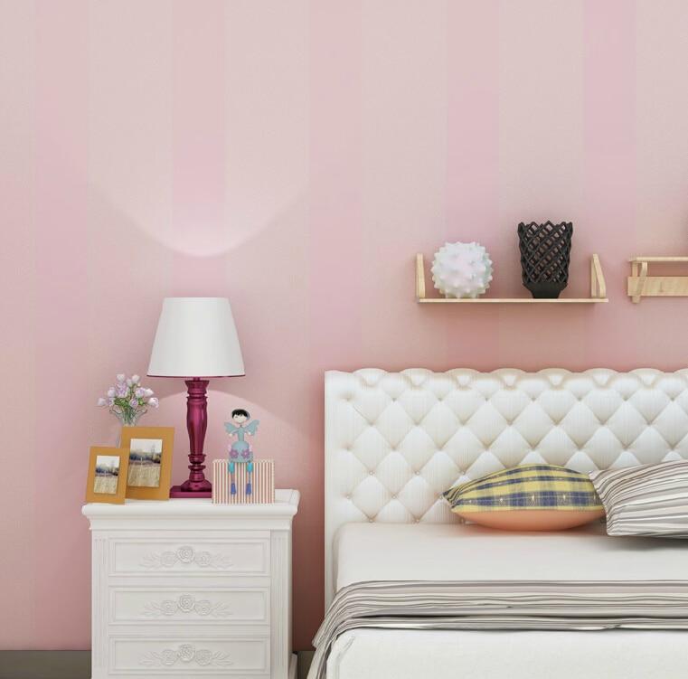 High Quality Romantic Pink Striped Wallpaper Modern