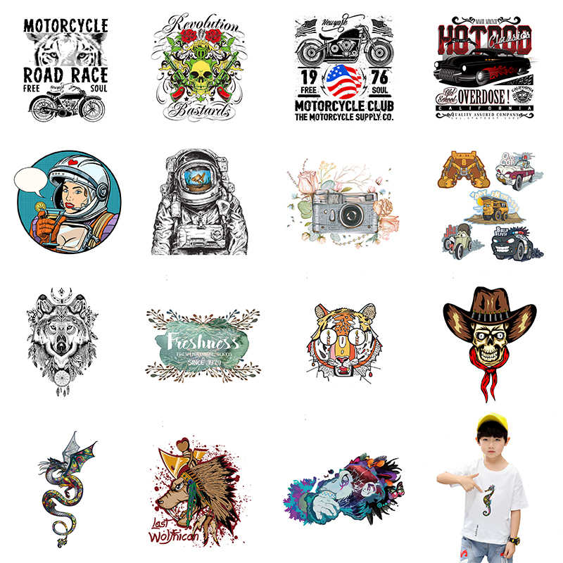 Astronaut Stranger Things Iron on Patches Diy Stickers Heat Transfers Animal Patch For Clothes Boy T-shirt Round UFO Appliques E