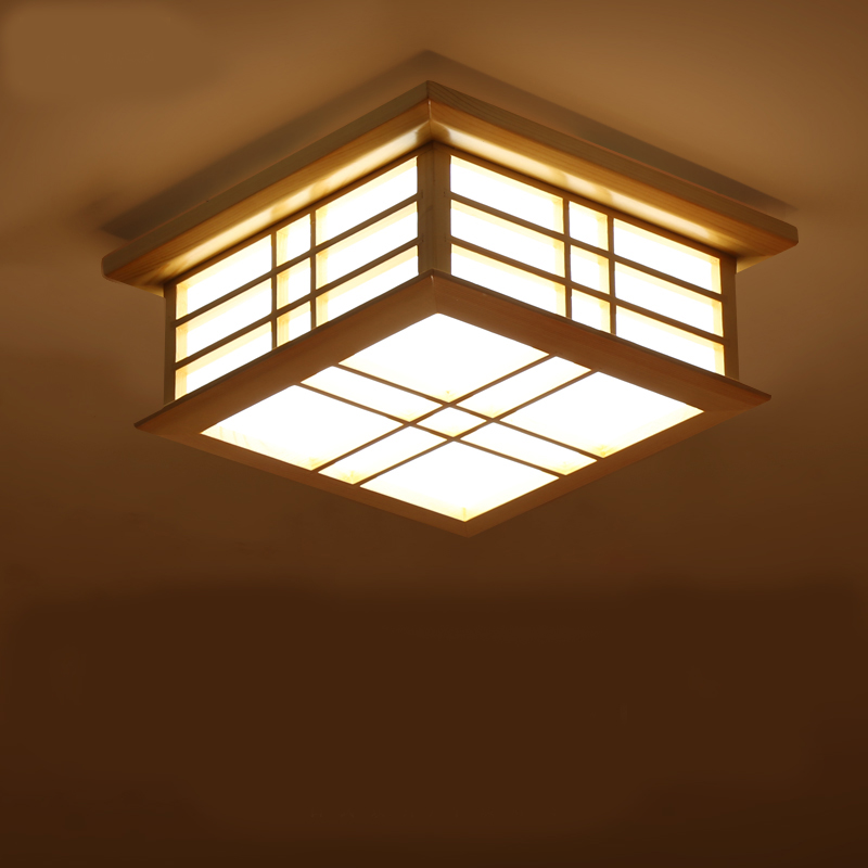 Japanese Style Delicate Crafts Led Wooden Frame Ceiling