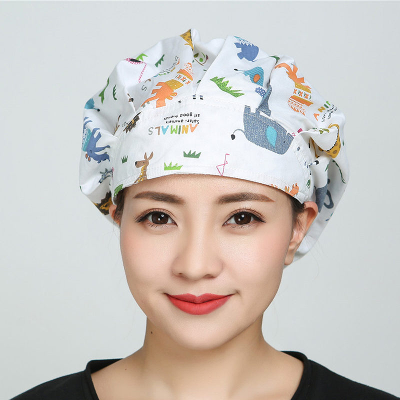 Analytical Scrub Hats Cotton Surgical Caps For Female Women Doctor Nurse Caps Clinic Working Hats Flower Cartoon Printed Hospital Head Wear Modern And Elegant In Fashion