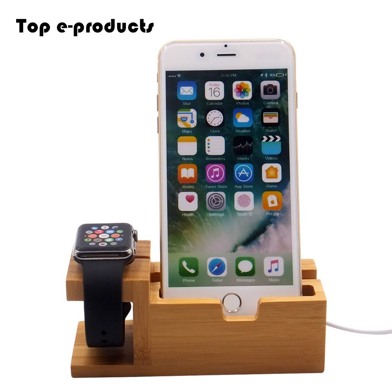 Top e-products Real Bamboo Pop Socket Phone Dock Station For Apple Watch & iphone & Card Stand Holder with Charger USB Port