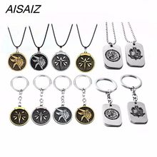 2018 NEW AVT Game Monster Hunter Leather Chain Necklace Wolf Head Logo Pendant Men Woman Jewelry Keychain Metal Keyring(China)