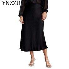 YNZZU أنيقة 2019 الربيع الحرير طويل تنورة المرأة الصلبة الأسود عالية الخصر الصيف تنانير طويلة السيدات تنورة النساء قيعان YB309