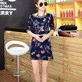 20 цветов Новый осень зима 2016 Мода Женщины длинные рукава Платья мини Платье Свободные девушки повседневная топы отпечатано вата