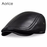HL041 New Design Men S 100 Genuine Leather Cap Newsboy Beret Cabbie Hat Golf Hat