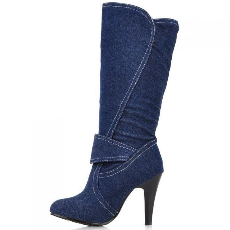 MAZIAO Womens Knee Boots for Ladies Long Boot Plus Size 34-43 on Sale Round Toe New Jean stiletto heel boots