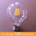 Antiguo Retro Vintage bombillas led e27 LLEVÓ el bulbo edison G80 4 W 6 W 8 W AC220V LED lámpara de Filamento Regulable Bombillas para uso doméstico