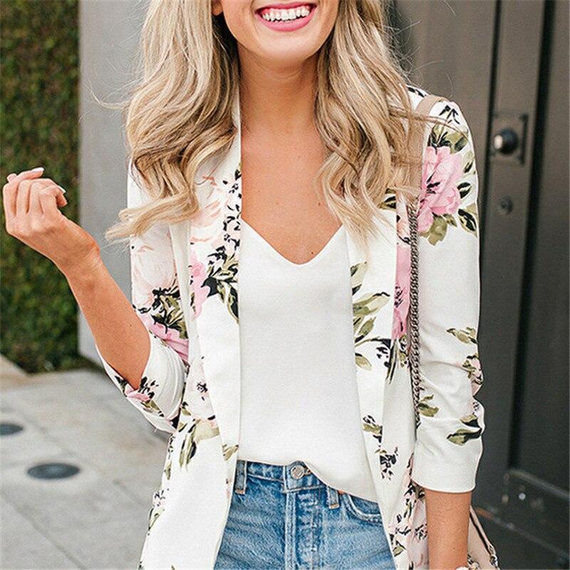 2019 Neuestes Design Frauen Floral Print Langarm Blazer 2019 Frühling Leichte Casual Büro Revers Drehen Unten Kragen Dünne Jacke Outwear Weibliche Jade Weiß