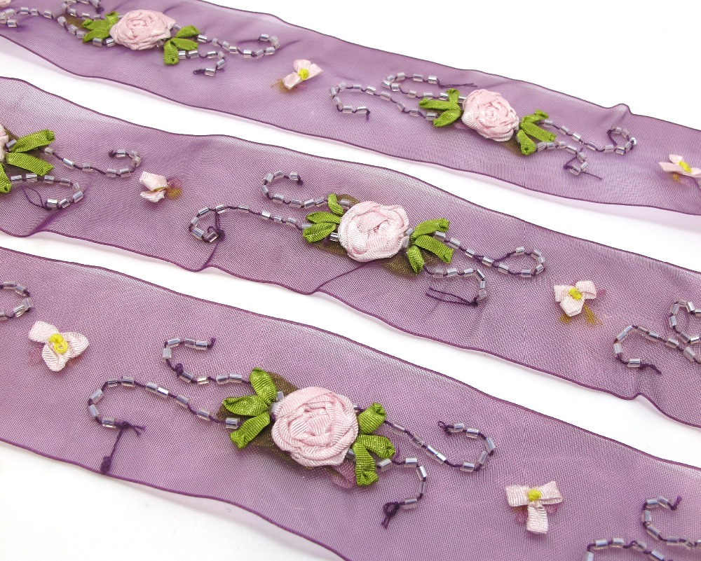 1 Yard 1 5/8 Inches Embroidered Rose Bud|Mauve|Colorful Flower Ribbon Trim|Scrapbook|Doll Lace|Quilt|Sewing Couture|Supplies|