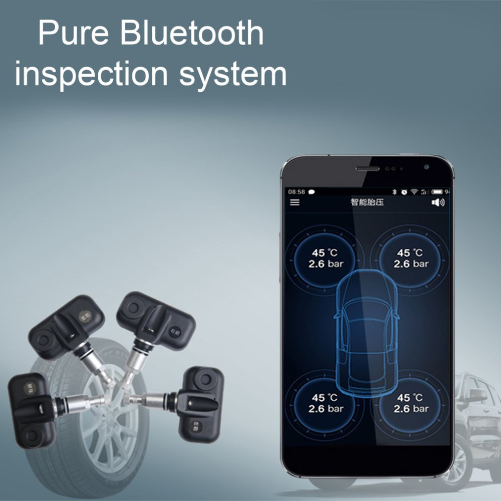 Smart Car TPMS Bluetooth 4.0 Tyre Pressure Monitoring System APP Display With Internal or External Sensors for iOS Android diagnostic tool careud u912 tyre pressure monitoring system car tpms psi bar with 4 internal sensors lcd display for japan cars