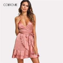 COLROVIE Layered Ruffle Trim Satin Wrap Dress 2018 New Deep V Neck  Sleeveless Tiered Layer Dress Belted Women Summer Dress 75de09246db7