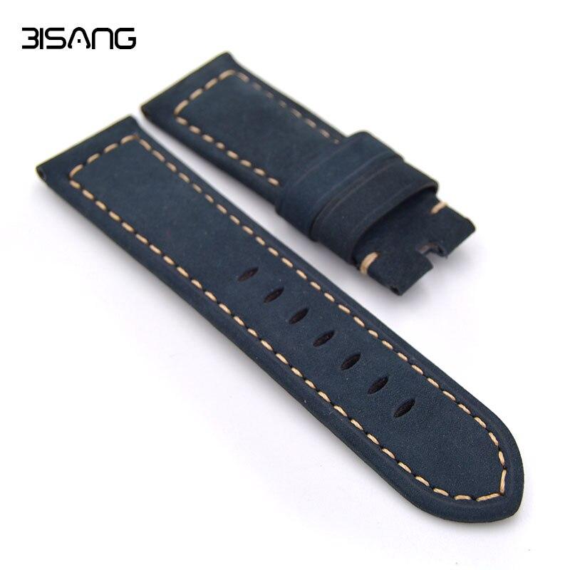 Prix pour Main En Cuir Bracelets, Hommes Bracelet Bleu 22 MM/24 MM Pour Panerai Bracelet, Style classique, Livraison rapide