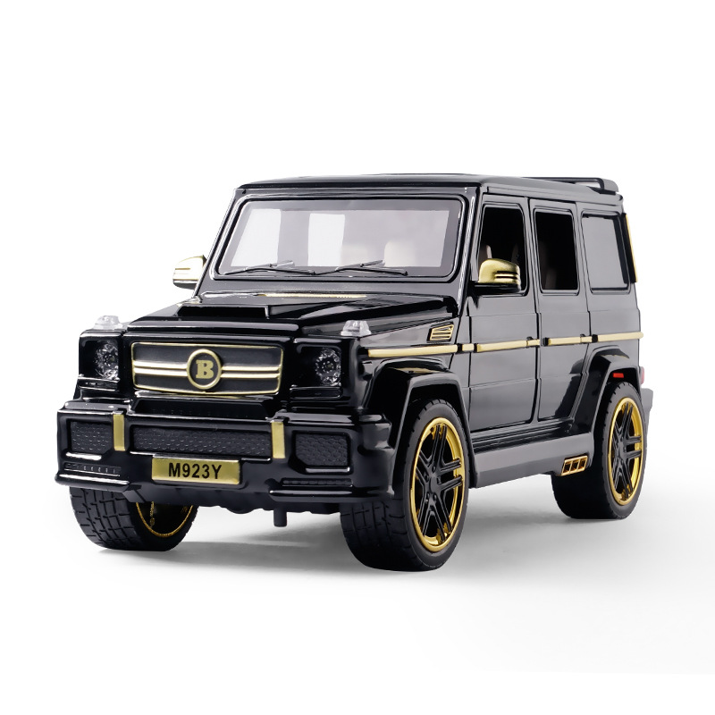 1:24 Diecast Toy Car Model Metal Toy Vehicle Wheels G65 High Simulation Sound And Light Pull Back Car Collection Kids Toys Gift