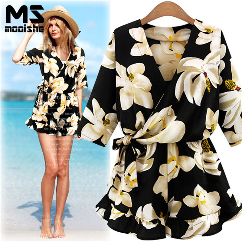 Mooishe Summer Casual Women Floral Playsuit Half Sleeve Ruffles White Flower Cross V Neck Loose Flax