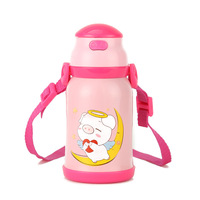 Baby Children Thermos Cup With Straw stainless steel Anti fall Bottle Cute Cartoon Vacuum Flasks school students dual purpose