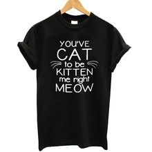 You've Cat Kitten Me Right Meow Print Women T shirt 100% Cotton Casual Funny Tshirts For Lady Top Tee Hipster Drop Ship