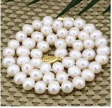 Women jewelry choker chocker maxi collier natural 8-9mm white natural freshwater nearround pearl beads choker necklace
