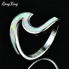 RongXing Blanco/azul/Verde/naranja/Rosa fuego ópalo océano onda anillos para mujeres 925 Plata de ley regalo de playa anillo de piedra natural