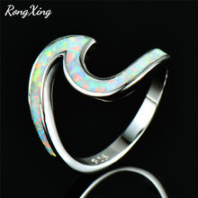RongXing White/Blue/Green/Orange/Pink Fire Opal Ocean Wave Rings for Women 925 Sterling Silver Filled Birthstone Ring Beach Gift(China)