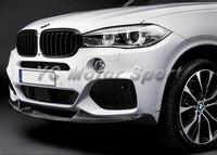 Автомобильные аксессуары углеродного волокна P Стиль спереди губ подходит для 2013 2014 F15 X5 M Tech передний бампер для губ передний сплиттер