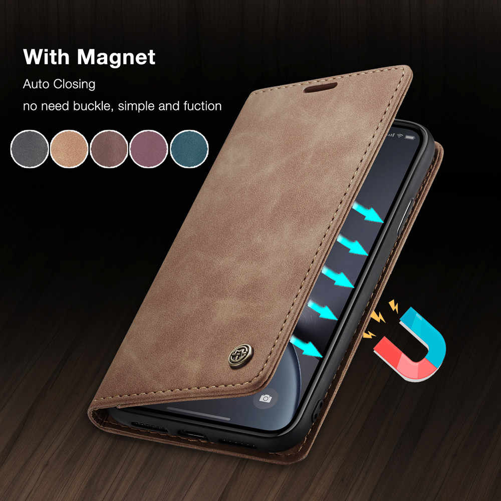 CaseMe Retro Leather Purse Case For iPhone X XR XS Max 360 Luxury Magnetic Card Holder Wallet Cover For iPhone 8 7 6 6S Plus 5S