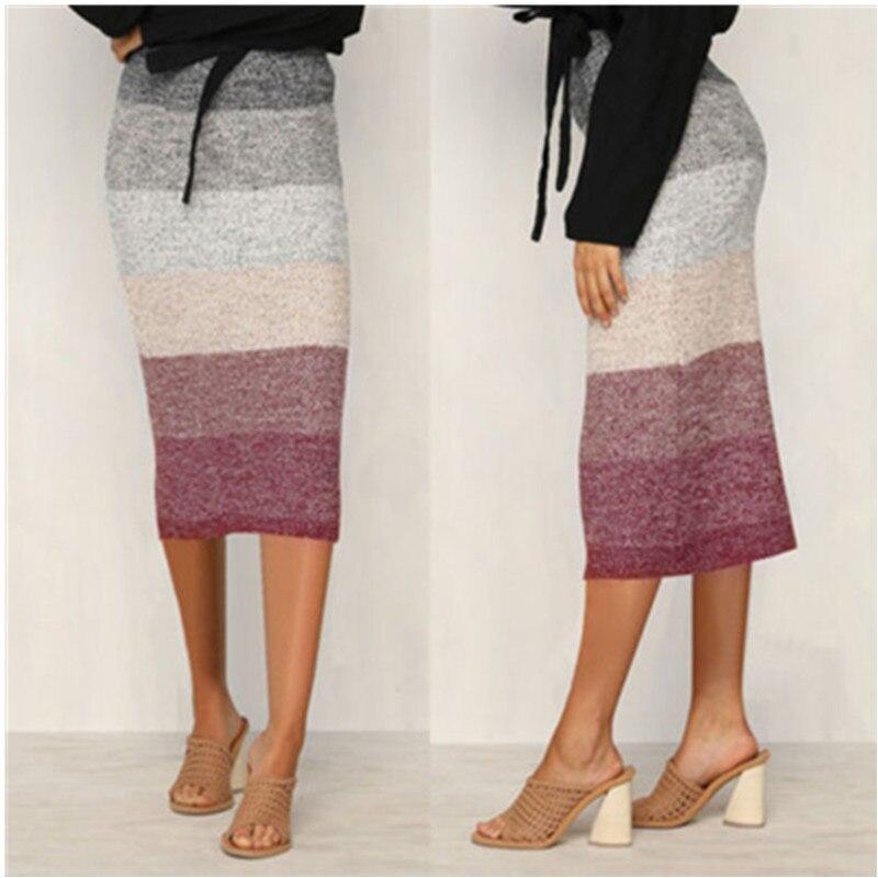 2019 Summer Skirts Sexy Chic Pencil Skirts Women Skirt Wool Rib Knit Long Skirt Package Hip Waist Midi Skirt Maxi F3
