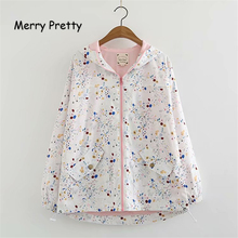 Merry Pretty Women Floral Print Backets Jackets 2019 Spring Femme Zipper Pockets Casual Long Sleeve Hooded Outerwear