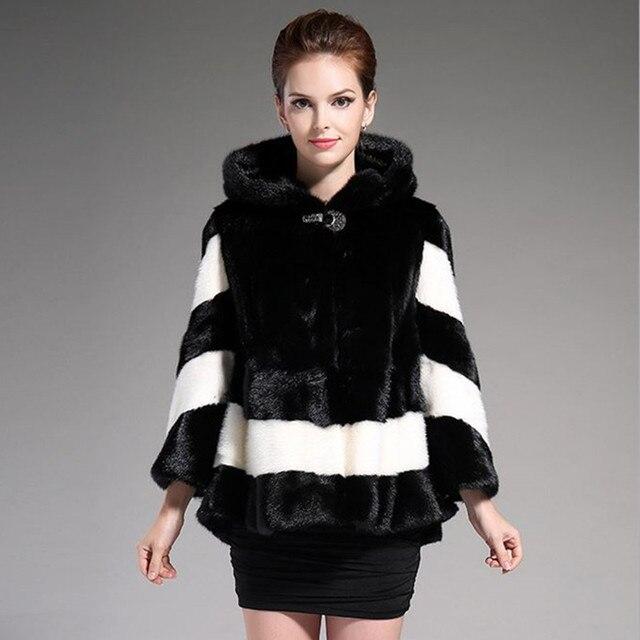 Fur Coats Women, 2016 new Water Mink Coat female winter hooded ...